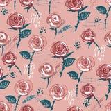 Nahtloses Muster mit gezeichneter Weinlese der Tinte Hand redete Rosen an Lizenzfreies Stockbild