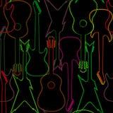 Nahtloses Muster mit Gitarrenschattenbildern Stockbild