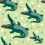 Nahtloses Muster mit glücklichen Krokodilen Lizenzfreie Stockfotografie