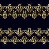 Nahtloses Muster mit Goldbiene Stockbilder