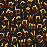Nahtloses Muster mit goldenem Alphabet Stockbilder