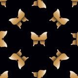 Nahtloses Muster mit goldenen Schmetterlingen Lizenzfreie Stockfotografie