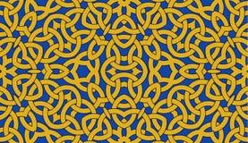 Nahtloses Muster mit goldener keltischer Knotenverzierung auf Blau, Hintergrund lizenzfreie abbildung