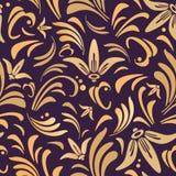 Nahtloses Muster mit Goldlilien Stockfotos