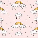 Nahtloses Muster mit Goldregenbogen, lustigen Wolken und Sternen stockbild