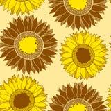 Nahtloses Muster mit Goldsonnenblumen Lizenzfreie Stockfotos
