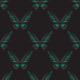 Nahtloses Muster mit grün-schwarzem Schmetterling Stockfotografie