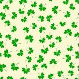Nahtloses Muster mit grünem Klee Stockbilder