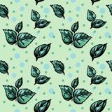 Nahtloses Muster, mit grünen Blättern und Tupfen Lizenzfreie Stockfotos