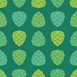 Nahtloses Muster mit grüner Farbe der flachen Art hüpft Stockfotografie