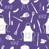 Nahtloses Muster mit Grill, Grillwerkzeuge BBQ lizenzfreie abbildung