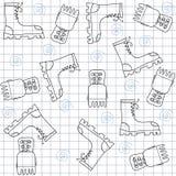 Nahtloses Muster mit Gummiüberschuhen. Hohe Turnschuhe Stockbilder
