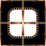 Nahtloses Muster mit Gurten, Ketten und Seil auf Schwarzweiss-Hintergrund vektor abbildung