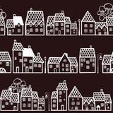 Nahtloses Muster mit Häusern Stockfotos