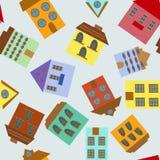 Nahtloses Muster mit Häusern Stockfoto