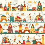Nahtloses Muster mit Häusern für Kinder Lizenzfreie Stockfotografie