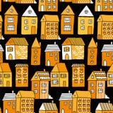 Nahtloses Muster mit Häusern und Bäumen stock abbildung