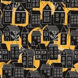 Nahtloses Muster mit Häusern und Bäumen und Kürbise in Schwarzem und in Orange lizenzfreie abbildung