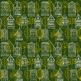 Nahtloses Muster mit Häusern und Blättern Lizenzfreie Stockfotos
