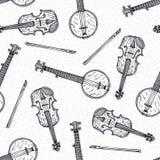 Nahtloses Muster mit hölzerner Geige und Banjo Stockbilder