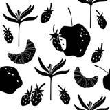 Nahtloses Muster mit Hörnchen, Erdbeeren, Blume und Äpfeln Stockbild