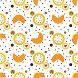 Nahtloses Muster mit Hörnchen, kleinen Kuchen, Kaffeetassen und colo Stockfotografie