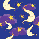 Nahtloses Muster mit halbem Mond und Stern Stockbild