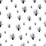 Nahtloses Muster mit Halloween-Baum auf weißem Hintergrund stockbild