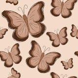 Nahtloses Muster mit Hand gezeichnetem braunem Schmetterling Lizenzfreies Stockfoto