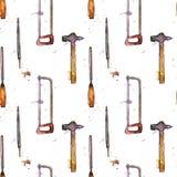 Nahtloses Muster mit Hand gezeichnetem Tool-Kit Stockfotografie