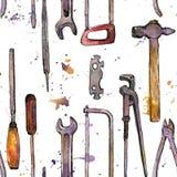 Nahtloses Muster mit Hand gezeichnetem Tool-Kit Stockbilder