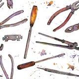 Nahtloses Muster mit Hand gezeichnetem Tool-Kit Stockfoto
