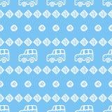 Nahtloses Muster mit Hand gezeichneten Autos, Quadraten und Kreisen lizenzfreie abbildung