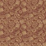 Nahtloses Muster mit Hand gezeichneten Gekritzelbäckereiprodukten Vektorsatz Elemente für Menüdesignkuchen, Teekanne, Hörnchen Stockfoto
