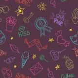 Nahtloses Muster mit Hand gezeichneten girly Gekritzeln stockbild