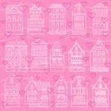 Nahtloses Muster mit Hand gezeichneten Häusern und Herzen Stockbilder