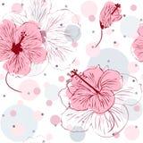 Nahtloses Muster mit Hand gezeichneten Hibiscus-Blumen Stockbilder