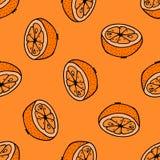 Nahtloses Muster mit Hand gezeichneten Orangen stockbild