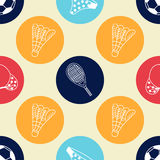 Nahtloses Muster mit Hand gezeichneten Sportelementen Lizenzfreies Stockbild