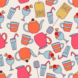 Nahtloses Muster mit Hand gezeichneten Teezeitsachen Stockbild