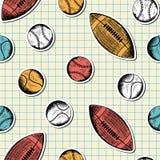 Nahtloses Muster mit Hand gezeichneten verschiedenen Sportbällen Lizenzfreie Stockfotos