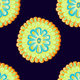 Nahtloses Muster mit Hand gezeichneter heller abstrakter Blume Lizenzfreie Stockfotos