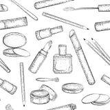 Nahtloses Muster mit Hand gezeichneter Kosmetiksammlung Stockbilder