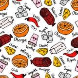 Nahtloses Muster mit Hand gezeichneter Orange, Salami, Zucker, Milch, Pfeffer und Jogurt stock abbildung