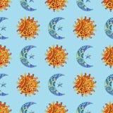 Nahtloses Muster mit Hand gezeichneter Sonne, Neumond und Stern Illustration in zentangle Art Stockfotos