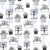 Nahtloses Muster mit handdrawn Geschenkboxen Lizenzfreies Stockbild