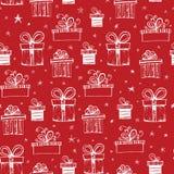 Nahtloses Muster mit handdrawn Geschenkboxen Stockfoto
