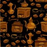 Nahtloses Muster mit handdrawn Kaffeetassen, Bohnen Lizenzfreies Stockfoto