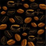 Nahtloses Muster mit handdrawn Kaffeetassen, Bohnen Stockfotos