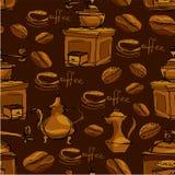 Nahtloses Muster mit handdrawn Kaffeetassen, Bohnen Stockbild
